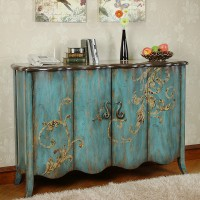 Decorative partition storage cabinet hand painted old art style