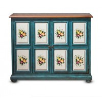 Pastoral hand painted cabinet