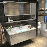 Stainless steel bathroom cabinet combination wash basin