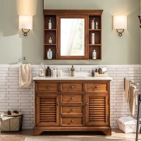 European style soft wood bathroom cabinet combination marble wash basin
