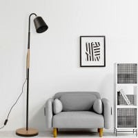 Nordic solid wood lamp remote control led floor lamp