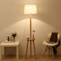 Solid wood floor lamp in table base