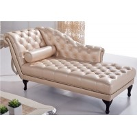 Light Pink Artificial Leather Lounge Chaise Sofa With Other 3 Colors