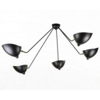 Serge Mouille Style Five Arms Pendant Ceiling Lamp