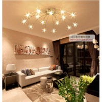15 Heads Creative stars style stainless steel ceiling lamp