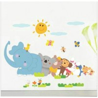 Removable sun and animal wall sticker