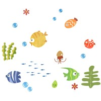 Fish swimming bathroom wall sticker