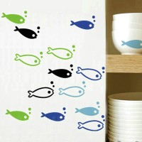 Fish style kitchen wall sticker