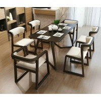 Dining chair solid wood with armrest
