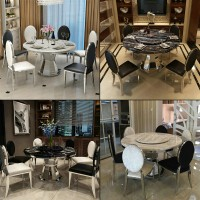 Marble dining table and chairs combination modern simple stainless steel round table