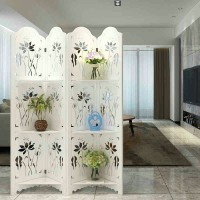 Simple classical lotus carved hollow folding screen partition