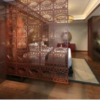 Antique classical carved folding screen hollow partition