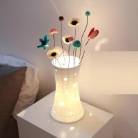 Ceramic DIY white hollow flower vase table lamp