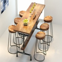 Iron round solid wood bar table with chairs high stool
