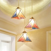 Colorful three head chandelier pedant lamp