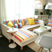 Rainbow stripe sofa cover