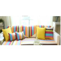 Rainbow stripe sofa cushions