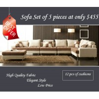 fabric sofa set of 5 pieces including an ottoman,color can be various
