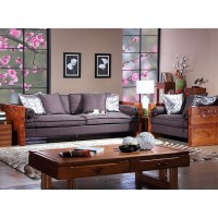 High Quality Carved Fraxinus Mandshurica Solid Wood Sofa Combination