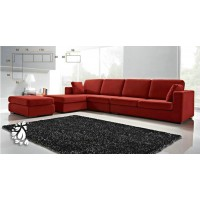 Red fabric sofa set with chaise