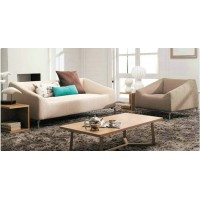 Cotton flax fabric sofa set of single chair with three seaters