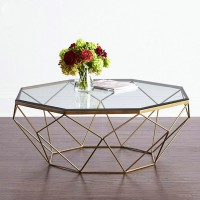 Tempered glass coffee table iron round