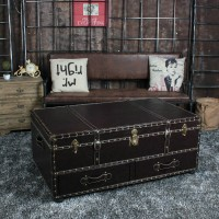 Leather Box Rivets Style Coffee Tables for Home KTV Bars