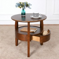 Coffee table Small round side table with drawer