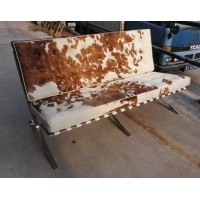 Pony Skin Leather Barcelona Loveseat Cushions with no piping