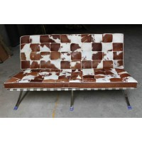 Pony Skin Leather Barcelona Loveseat Cushions