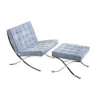 Fabric Barcelona Style Chair with Ottoman