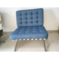 Blue Rhombic Fabric Barcelona Chair