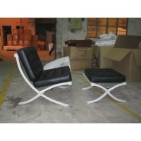 Barcelona Style Chair with ottoman in Top Grain Leather