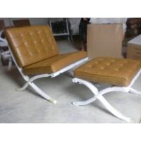 Khaki Barcelona Chair With Ottoman
