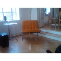 Mustard Brown Barcelona Chair With Ottoman