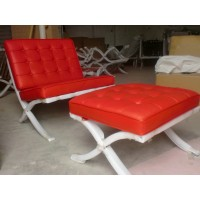 Red Barcelona Chair With Ottoman