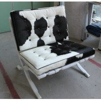 Cowhide Barcelona Style Chair with no piping