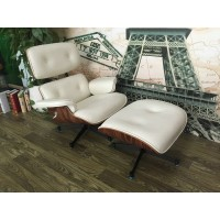 Eames style lounge chair and ottoman of tall version in cream with tigerwood