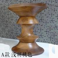 Eames Style Walnut Stool in Light Walnut of B