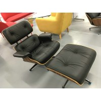 Special offer of Eames style lounge chair with ottoman in black italian leather memory sponge removable cushions 25% discount for retail only 10 sets per month