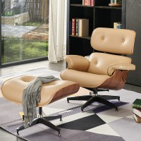 Eames style lounge chair and ottoman in fabric