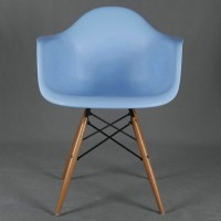 DAW Eames Style armed dining Chair with arms & wooden legs base, made in plastic