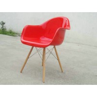 DAW Eames Style armed dining Chair with arms & wooden legs base, made in fiberglass