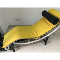 Le Corbusier Style Chaise Lounge Chair LC4 in Cowhide Leather