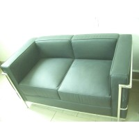 Le Corbusier Style sofa of 2 seats, loveseat LC2