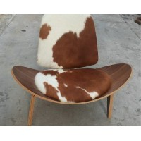 Hans Wegner style Three Legged Shell Chair in Pony Skin Leather
