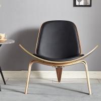 Hans Wegner style Three Legged Shell Chair in Black PU leather