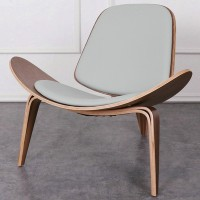 Hans Wegner style Three Legged Shell Chair in Grey PU leather