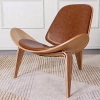Hans Wegner style Three Legged Shell Chair in Tan Aniline Leather