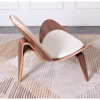 Hans Wegner Style Three Legged Shell Chair In White Italian Leather